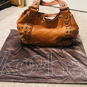Kooba rustic distressed saddle brown hobo bag